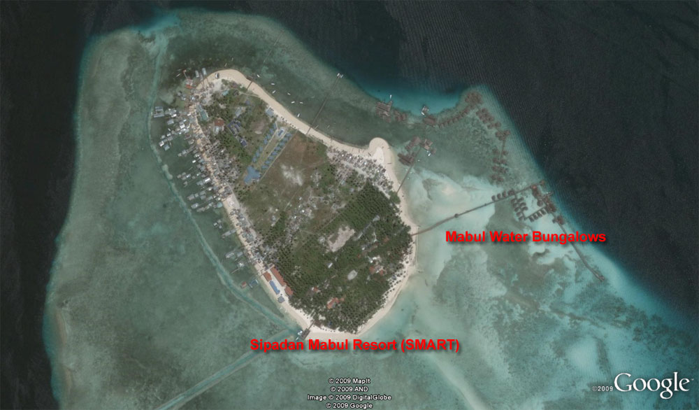 Mabul Island Map: SIpadan Mabul Resort (SMART) & Mabul Water Bungalows